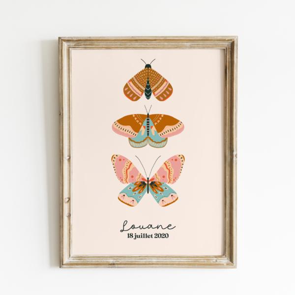 affiche-trio-papillons-personnalisée